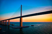 Rene Triay Photography Posters - The Sunshine Under the Sunshine Skyway Bridge Poster by Rene Triay Photography