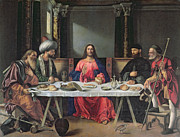 Turban Framed Prints - The Supper at Emmaus Framed Print by Vittore Carpaccio