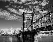 River Scenes Framed Prints - The Suspension Bridge bw Framed Print by Mel Steinhauer