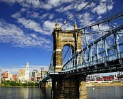 Cincinnati Photos - The Suspension Bridge by Mel Steinhauer