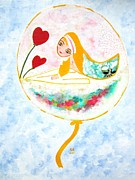 Balloon Pastels Prints - The swan princess Print by Rakhee van Meerkerk