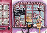 Stressie Cat Framed Prints - The Sweet Factory Framed Print by Lucia Stewart