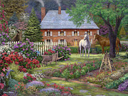 Kinkade Framed Prints - The Sweet Garden Framed Print by Chuck Pinson