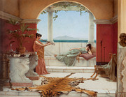 Flute Player Framed Prints - The Sweet Siesta of a Summer Day Framed Print by John William Godward