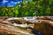 Fir Trees Digital Art Prints - The Swift River Beside the Kancamagus Scenic Byway in New Hampshire Print by John Haldane