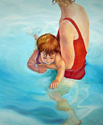 Francis Painting Posters - The Swim Lesson Poster by Karen Francis