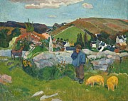 Country Scene Digital Art Prints - The Swinehead Print by Paul Gauguin