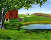 Farm Scenes Originals - The Swing by Deborah Butts
