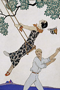 Enjoying Painting Framed Prints - The Swing Framed Print by Georges Barbier
