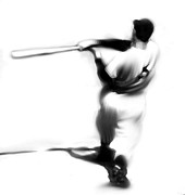 Baseball Drawings Posters - The Swing  Joe DiMaggio Poster by Iconic Images Art Gallery David Pucciarelli