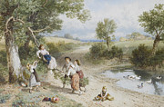Myles Birket Foster Prints - The Swing Print by Myles Birket Foster