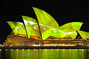 Sydney Opera House Art - The Sydney Opera House in vivid green by David Hill