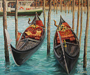 European Artwork Painting Prints - The Symbols of Venice Print by Kiril Stanchev