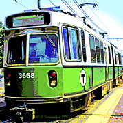 Boston Digital Art Metal Prints - The T Trolley Car Boston Massachusetts 1990 Poster Metal Print by A Gurmankin