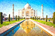 Taj Mahal Prints - The Taj Mahal Print by Sanely Great