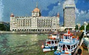 Gateway Paintings - The Taj Mahal hotel in Mumbai by George Atsametakis