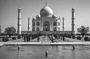 World Wonder Posters - The Taj Mahal monochrome Poster by Steve Harrington