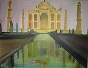 Wonder Of The World Paintings - The Tajmahal by M bhatt