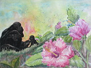 Flora And Fauna Painting Originals - The Talk by Lynn Maverick Denzer