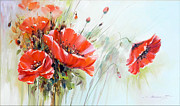 Romania Paintings - The Talk of the Poppies by Petrica Sincu