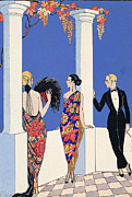 Glamorous Women Framed Prints - The Taste of Shawls Framed Print by Georges Barbier