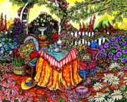 Cushions Painting Framed Prints - The Tea Party Framed Print by Sherry Dole