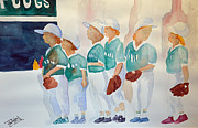 Baseball Uniform Painting Metal Prints - The Team Metal Print by Trisha Gooch