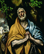Sepulchre Paintings - The Tears of St Peter by El Greco Domenico Theotocopuli