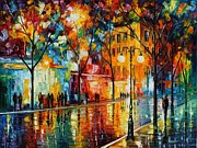 Night-scape Posters - The Tears Of The Fall - Palette Knife Oil Painting On Canvas By Leonid Afremov Poster by Leonid Afremov