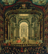 Audience Paintings - The Teatro Reale in Turin by Pietro Domenico Oliviero