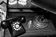 Vintage Telephone Framed Prints - The Telephone Table - Black and White Framed Print by Paul Ward