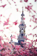 Watch Tower Framed Prints - The Temple Bell Dies Away 1. Pink Spring in Amsterdam Framed Print by Jenny Rainbow