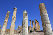 Roman Ruins Posters - The Temple of Artemis at Jerash Jordan Poster by Robert Preston