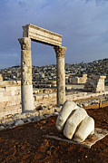 Roman Ruins Posters - The Temple of Hercules and sculpture of a hand in the Citadel Amman Jordan Poster by Robert Preston