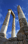 Roman Ruins Posters - The Temple of Hercules in the Citadel Amman Jordan Poster by Robert Preston