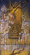 Sakura Paintings - The temples wall by Vrindavan Das