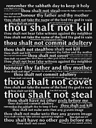 Religious Art Digital Art Prints - The Ten Commandments 20130625bw Print by Wingsdomain Art and Photography