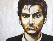 Dr. Who Mixed Media Framed Prints - The Tenth Doctor Framed Print by Jill Van Iperen