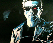 Schwarzenegger Paintings - The Terminator by Paul Mitchell