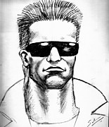 Schwarzenegger Paintings - The Terminator by Salman Ravish