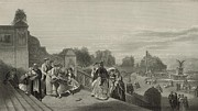 19th Century America Drawings Posters - The Terrace at Central Park 1872 Engraving Poster by Antique Engravings