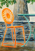 Madison Painting Framed Prints - The Terrace Chair Framed Print by Thomas Kuchenbecker