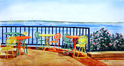 Serene Landscape Painting Originals - The Terrace View by Thomas Kuchenbecker