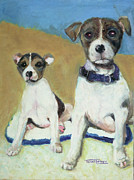 Paws Painting Originals - The Terriers by Terry Lewey