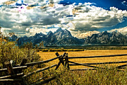 Haybales Art - The Tetons by Robert Bales