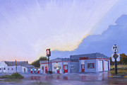 Rain Painting Framed Prints - The Texaco in Potter Framed Print by Jerry McElroy