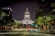 Congress Street Prints - The Texas Capitol Building Print by David Morefield