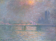 Impressionistic Landscape Painting Framed Prints - The Thames with Charing Cross Bridge Framed Print by Claude Monet