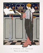 Evening Wear Posters - The Theorbo Player Poster by Georges Barbier