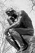 Benjamin Franklin Parkway Photos - The Thinker in Black and White by Lisa  Phillips